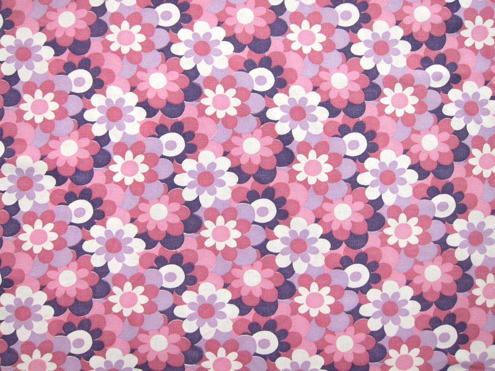 東欧レトロ ピンクと紫のレトロ花柄パターン ヴィンテージ生地 幅128cm | Frau Vintage