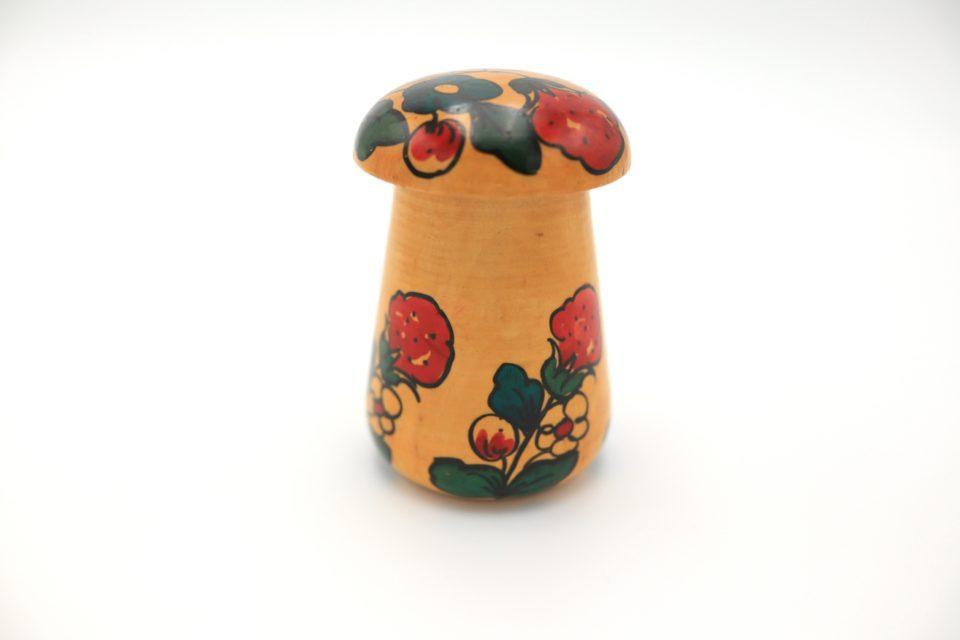 ロシアの伝統工芸 キノコの形をしたヴィンテージ木製小物入れ