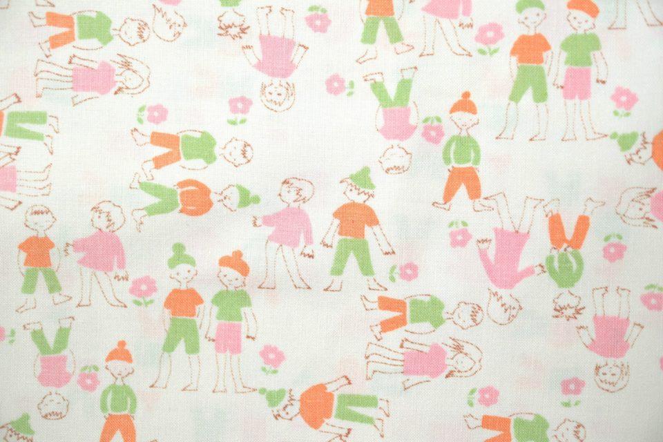 男の子と女の子のレトロ絵 ヴィンテージファブリック 幅92cm