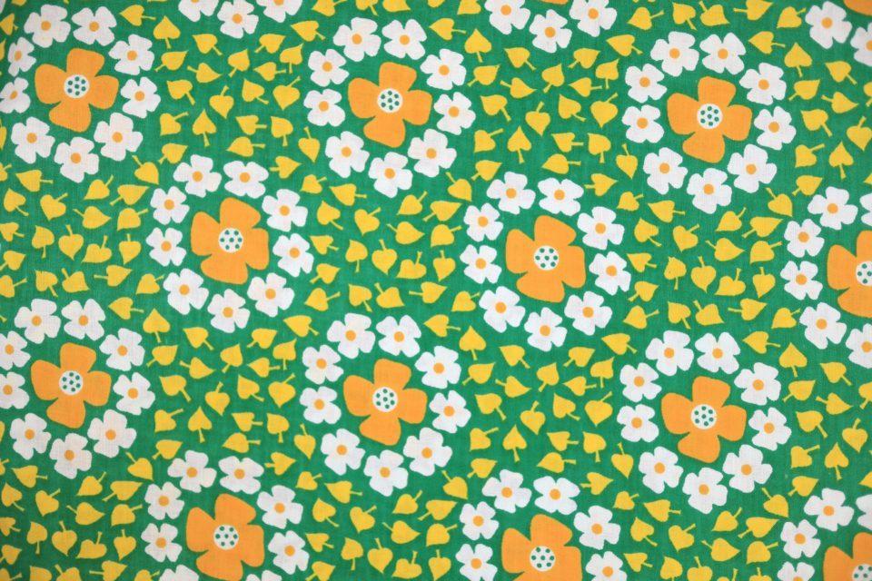 デッドストックヴィンテージ生地花柄グリーン 幅72cm