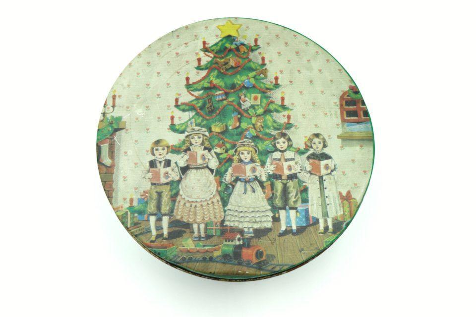 レトロ気分なクリスマス ヴィンテージティン缶 径25cm
