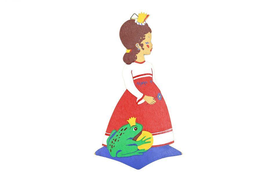 お姫さまとカエルのレトロな木製壁飾り