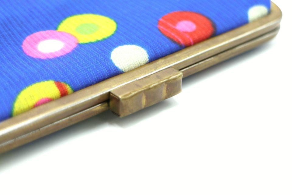 ノスタルジックな水玉模様のヴィンテージがま口財布(ブルー)