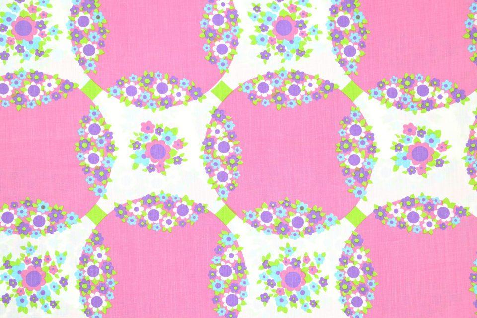 新品丸モチーフと花柄ピンクのヴィンテージファブリック 幅130cm