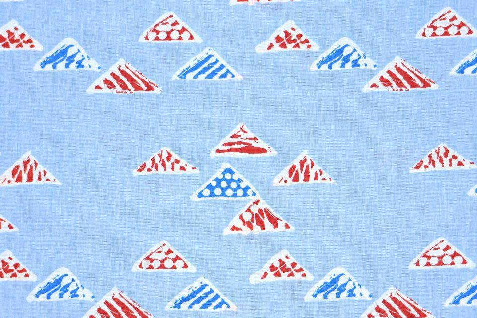 懐かしブルーの三角柄DDRオリジナルヴィンテージ布(新品) 幅120cm