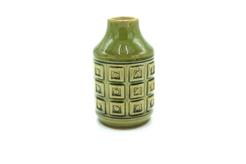 蚤の市Vintage つやつやデコラティブなレトロ花瓶(グリーン)
