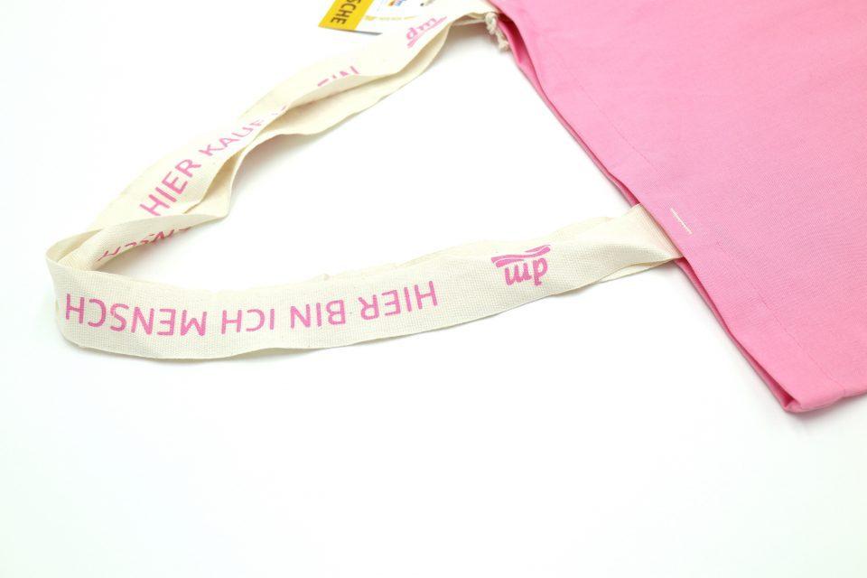 オーガニックコットンエコバッグ dm ドイツ ピンク色-1