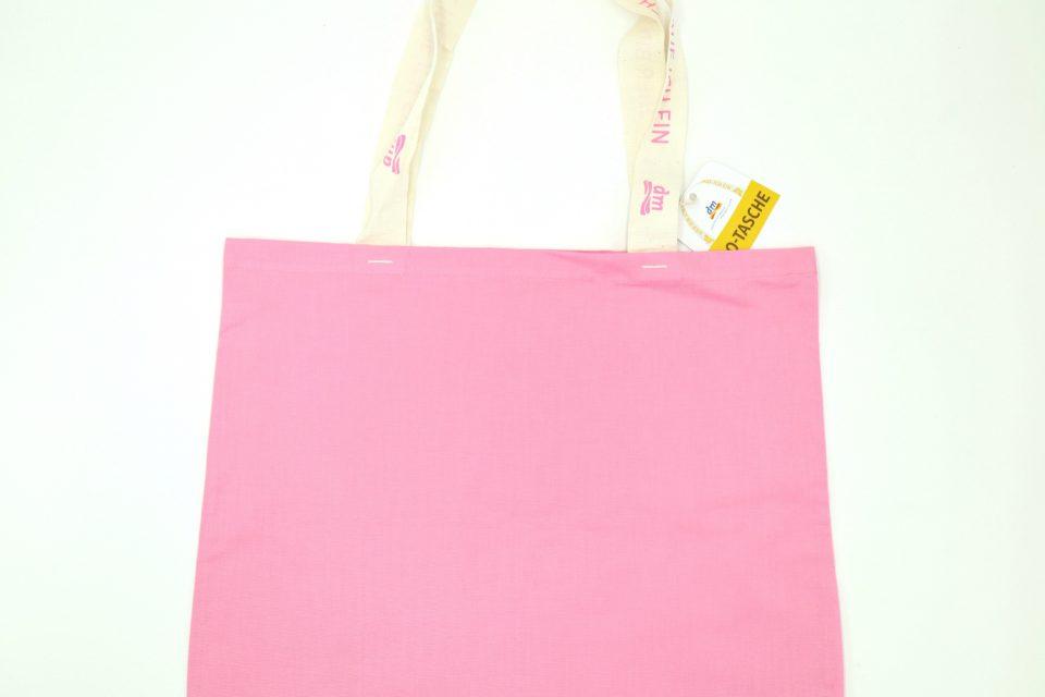 オーガニックコットンエコバッグ dm ドイツ ピンク色-3