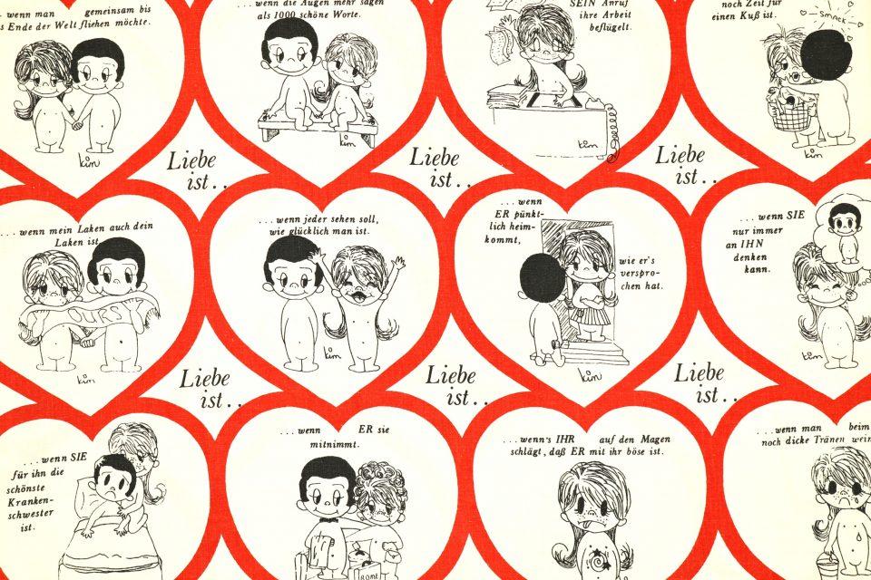 70年代の人気コミック Liebe ist.. レトロファブリック 幅120cm