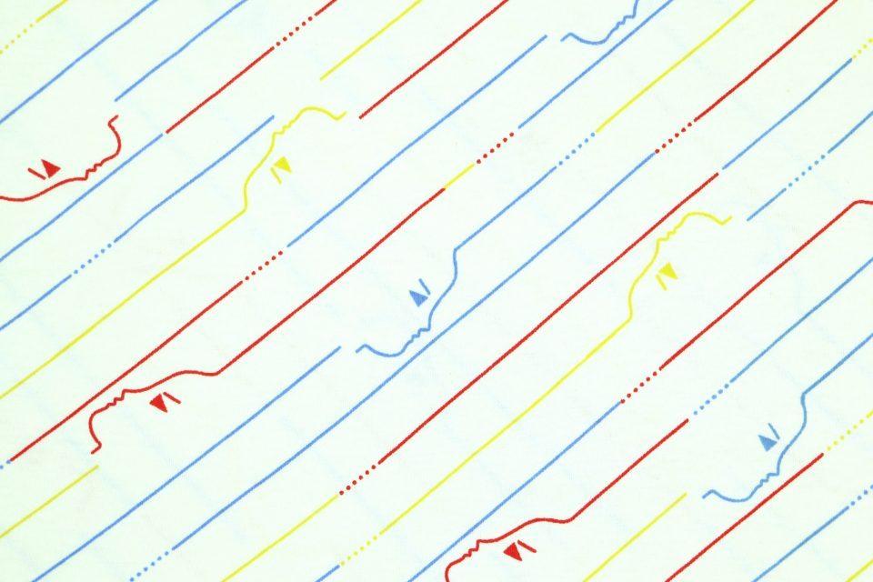 線で描いた横顔が小粋なレトロ生地(ストライプ) 幅120cm