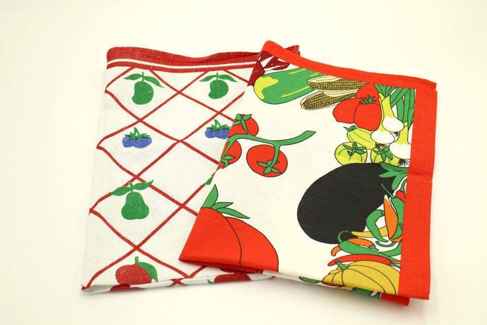 蚤の市レトロ 懐かしいフルーツ柄キッチンタオル2枚セット