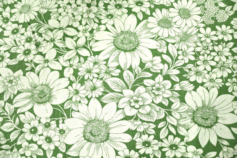 グリーン系レトロフラワー柄ヴィンテージ布 幅130cm
