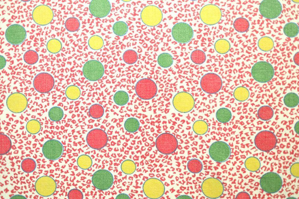 赤色系レトロな水玉模様柄コットンファブリック 幅125cm