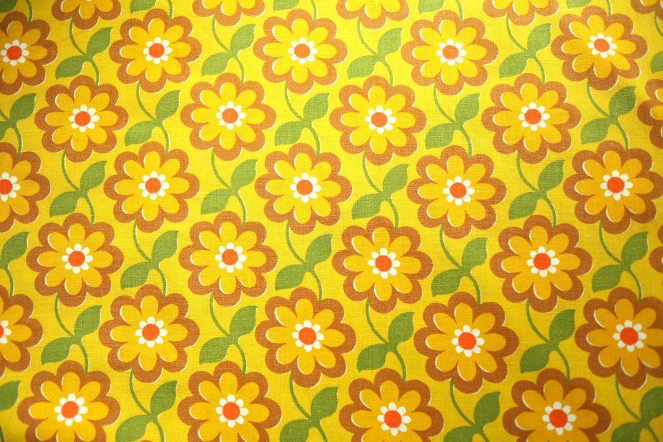 黄色花柄連続パターン ヴィンテージファブリック 幅152cm