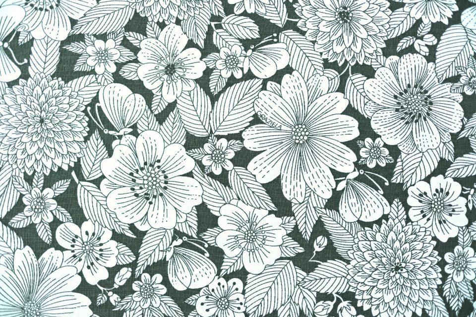 モノクロームGraziela シックな花模様レトロ生地 幅125cm