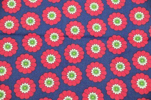 再入荷ネイビーの花柄ヴィンテージ布 未使用 幅75cm