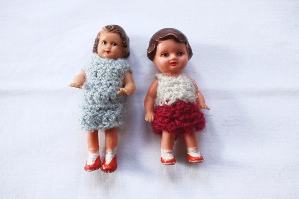 蚤の市Vintage 小さな女の子のラバードール2人組
