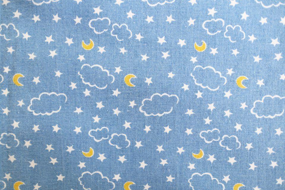 キラキラ夜空柄水色レトロファブリック 幅90cm