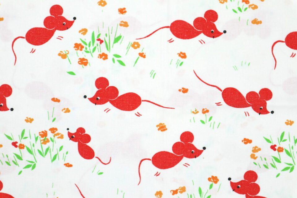 癒しのマウス柄ヴィンテージファブリック 幅92cm