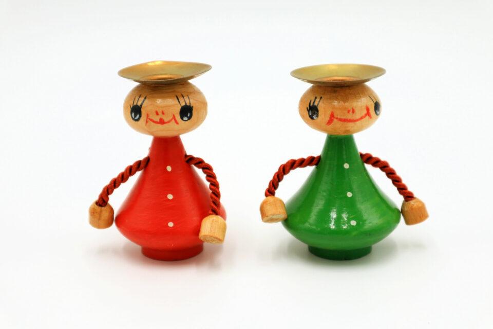 )赤と緑 愛らしいお人形型ヴィンテージキャンドルスタンド